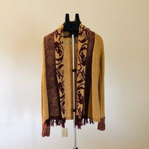 Buckle BKE Cardigan-Long-Gold and Maroon Swirls